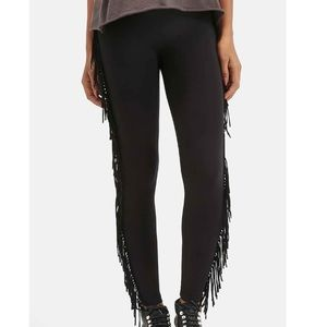 NWT Black Fringe Leggings XS
